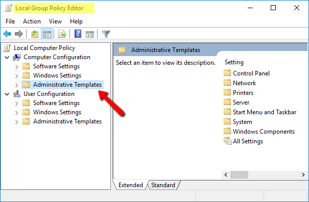 a local group policy editor page will open go to administrative template
