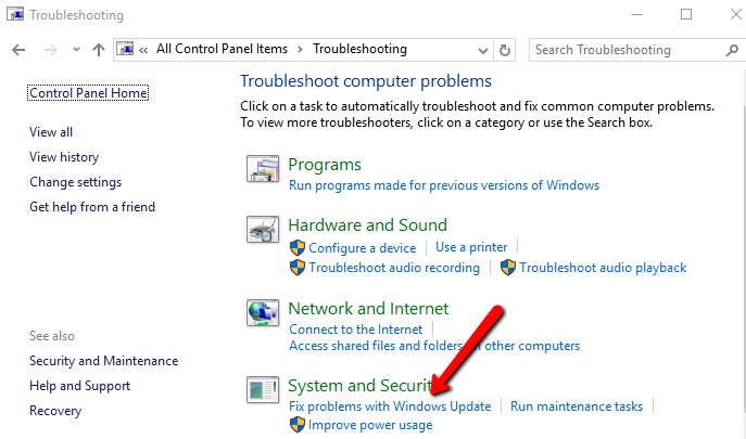 how to run troubleshooting in windows 7 windows update
